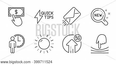 Sun Energy, E-mail And Elastic Line Icons Set. New Products, Quickstart Guide And 5g Upload Signs. W