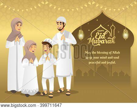 Eid Mubarak Greeting Card. Cartoon Muslim Family Celebrating Eid Al Fitr With Mosque As Background.
