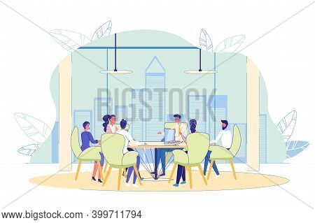 Business Briefing Teamwork At Conference Meeting Room. People Sitting At Round Table Brainstorming,