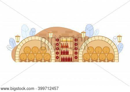 Wine Cellar With Wooden Barrels And Wine Bottles On Shelf Vector Illustration. Restaurant Basement I