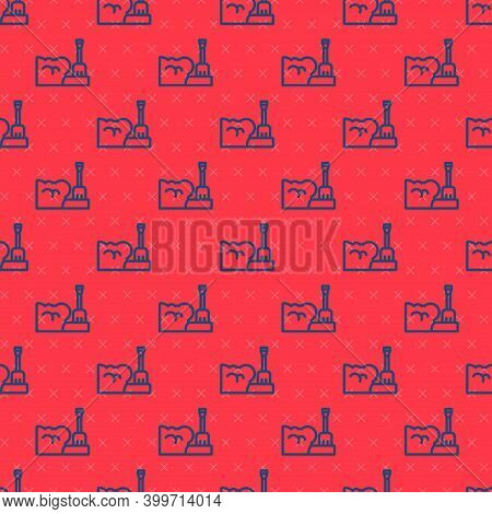 Blue Line Shovel In Snowdrift Icon Isolated Seamless Pattern On Red Background. Vector