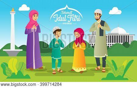Eid Mubarak Greeting Card. Cartoon Muslim Family Celebrating Eid Al Fitr On Green Background