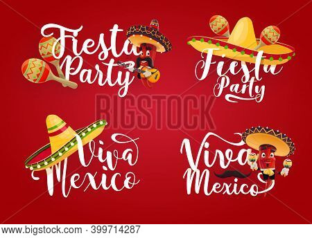 Viva Mexico And Mexican Fiesta Party Vector Icons. Red Chilli Pepper Cartoon Characters With Sombrer