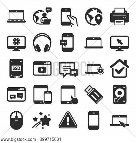 Mobile Devices Icons. Set Of Laptop, Tablet Pc And Smartphone Signs. Hdd, Ssd And Flash Drives. Head