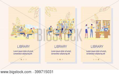 Digital Library E-book Mobile Onboard Screen Set. Study Program Application. E-learning Technology.