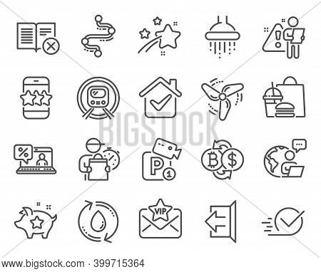 Technology Icons Set. Included Icon As Star, Online Loan, Wind Energy Signs. Checkbox, Parking Secur