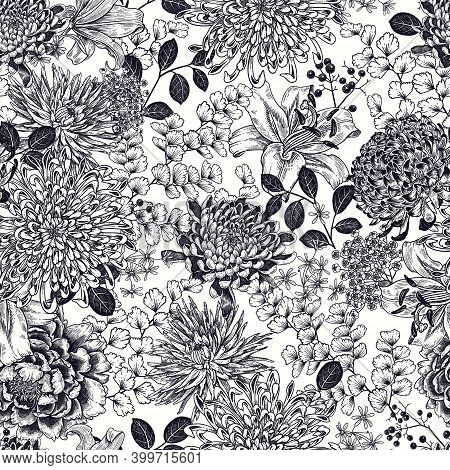 Autumn Flowers With Branches, Berries And Leaves. Floral Seamless Pattern. Black Graphic Arts On Whi