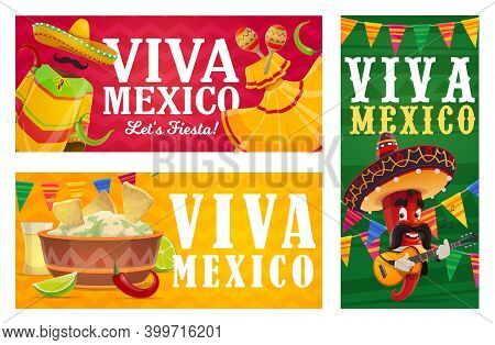 Viva Mexico Vector Banners With Mexican Fiesta Party Food, Chilli Pepper Character And Sombreros. Av