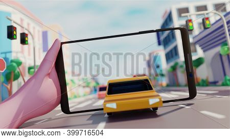 Hand holding smartphone using AR application using to simulated transport street outside blur effect buildings in city view. 3D Render.