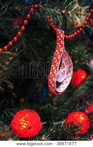 Red decorations for Christmas tree