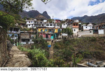 Colorful Town Houses In The Indigenous Green Mountain Village Along Lake Atitlan, Santa Cruz La Lagu