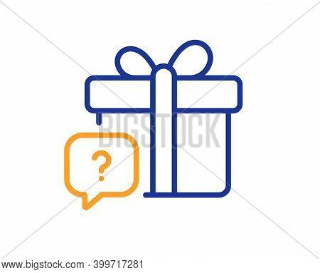 Secret Gift Line Icon. Unknown Present Box Sign. Question Mark Symbol. Quality Design Element. Line