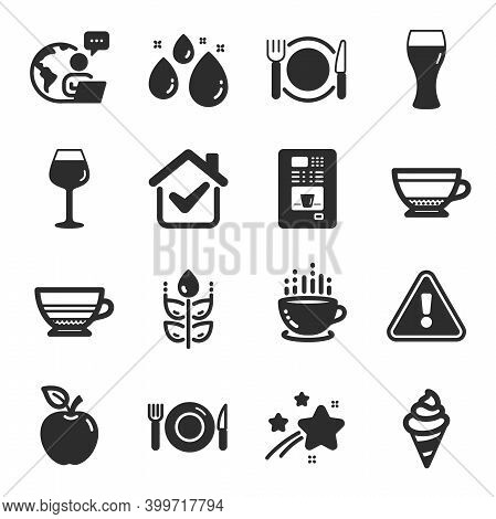 Set Of Food And Drink Icons, Such As Food, Coffee Cup, Apple Symbols. Restaurant Food, Dry Cappuccin