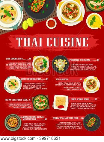 Thai Cuisine Vector Cashew Chicken Gai Pad Med Mamuang, Fried Spring Rolls And, Fish Ginger Or Prawn