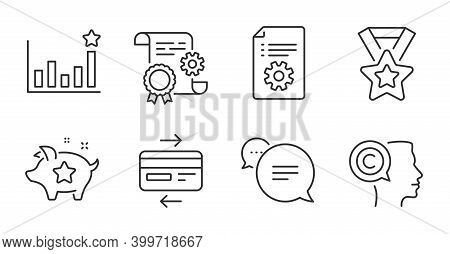 Efficacy, Loyalty Points And Winner Ribbon Line Icons Set. Technical Documentation, Text Message And