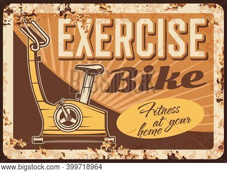 Exercise Bike Rusty Metal Plate, Vector Promo For Home Or Gym Fitness Training, Apparatus Machine, C