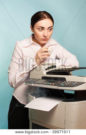 Scared Secretary And Smoking Copier