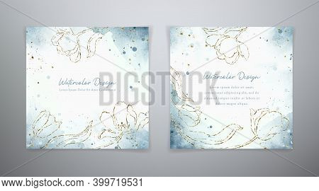 Spring Floral Cards. Set Vector Watercolor Templates In Blue And Golden Colors. Watercolor Design Wi