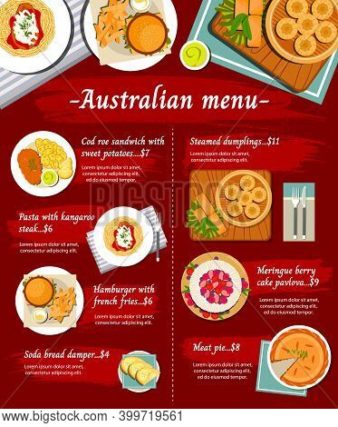 Australian Food Cuisine, Menu Dishes And Australia Meals, Vector Restaurant Lunch And Dinner. Austra