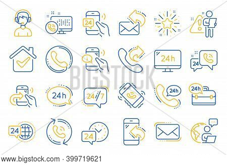 Processing Line Icons. Set Of Callback Or Feedback, Call Support And Chat Message Icons. 24 Hour Ser