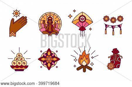 Makara Sankranti, Hindu Festival Of Sun God Surya - Solid Icons In Bright Colors. Maghi Or Pongal -