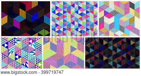 Dotted Seamless Isometric Geometric Patterns Set, Dots 3d Cubes Vector Tiling Backgrounds, Architect