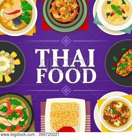 Thai Food Vector Tom Yum Soup, Fish Ginger Soup And Cashew Chicken Gai Pad Med Mamuang. Prawn Vegeta