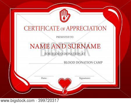 Blood Donation Charity Certificate, Donor Day Heart And Helping Hand, Vector Diploma Template. Donat