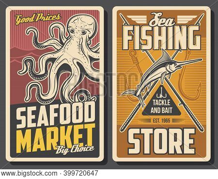 Seafood Market And Fishing Store Banner. Big Octopus And Jumping Marlin Fish, Fishhooks And Crossed