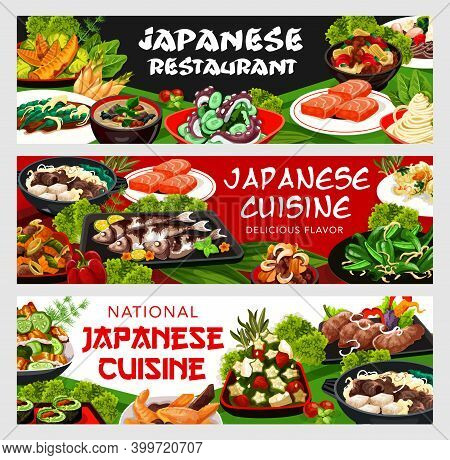 Japanese Cuisine Vector Vegetable Rolls, Nicy Jaga Potatoes With Meat And Soba Noodles. Bamboo Shoot