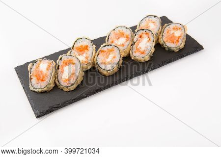 Japanese Seafood Sushi, Roll On Shale Food Board On White Background