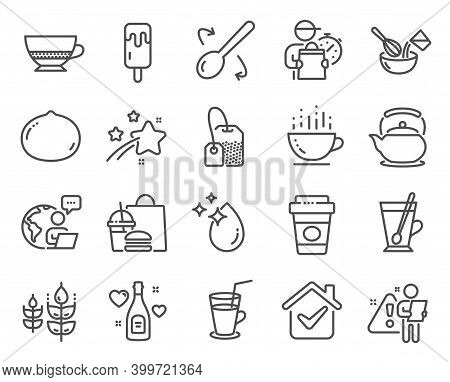 Food And Drink Icons Set. Included Icon As Macadamia Nut, Cooking Whisk, Cooking Spoon Signs. Teapot