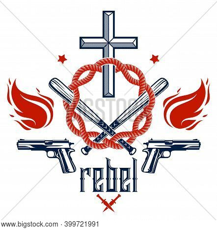 Gangster Thug Emblem Or Logo With Christian Cross, Weapons And Different Design Elements , Vector Ta