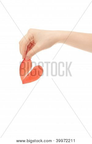 "Woman Hand With ""broken Red Paper  Heart"""