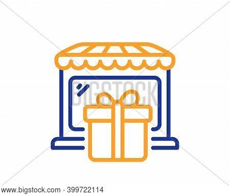 Gift Shop Line Icon. Souvenirs Market Sign. Retail Marketplace Symbol. Quality Design Element. Line