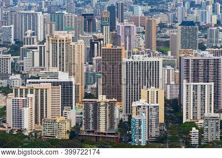 Tall Hotel Buildings For Waikiki Tourists, Oahu, Hawaii