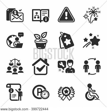 Set Of Business Icons, Such As Technical Algorithm, Workflow, Disability Symbols. Winner Ribbon, Loy