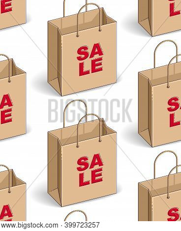 Shopping Bags Seamless Background, Backdrop For Marketplace Or Online Shop Website, Seasonal Sale Cl