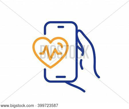 Cardio Training App Line Icon. Fat Burning Application Sign. Gym Fit Heartbeat Symbol. Quality Desig