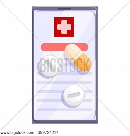 Telemedicine Pills Prescription Icon. Cartoon Of Telemedicine Pills Prescription Vector Icon For Web