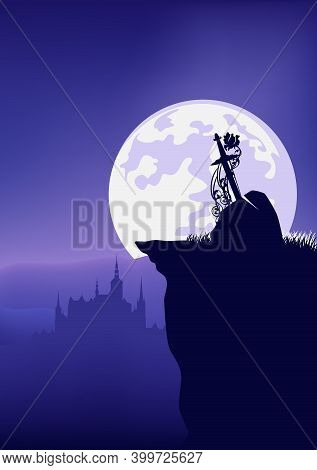 Legendary Excalibur Sword In Stone With Castle Silhouette In The Background - Fairy Tale Night Scene