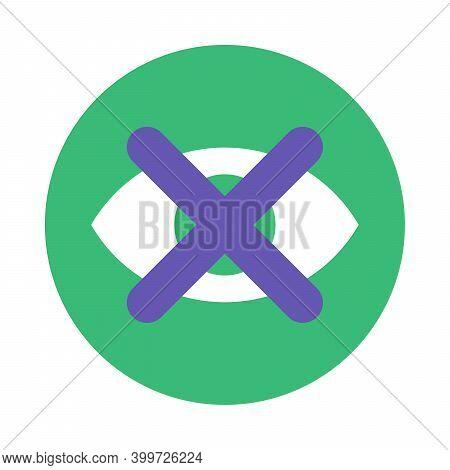 Eye Crossed Icon, Access Forbidden App Button Flat