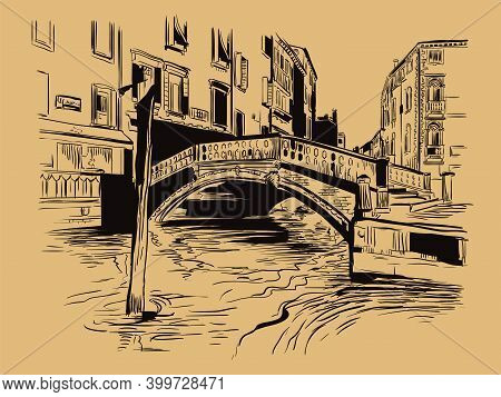 Venice Hand Drawing Vector Illustration Canal Brown