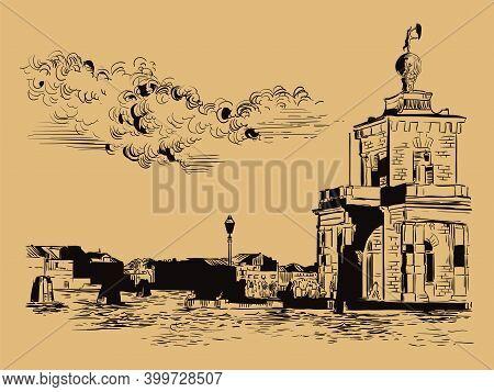 Venice Hand Drawing Vector Illustration Della Dogane Brown