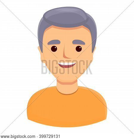 Gray Haired Man Icon. Cartoon Of Gray Haired Man Vector Icon For Web Design Isolated On White Backgr