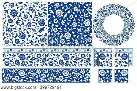 Set Of Floral Design Elements. Seamless Patterns, Seamless Borders, Circle Frame. Beautiful For Any