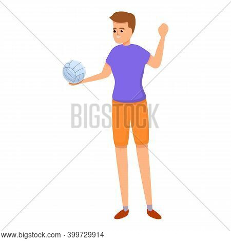Active Volleyball Player Icon. Cartoon Of Active Volleyball Player Vector Icon For Web Design Isolat