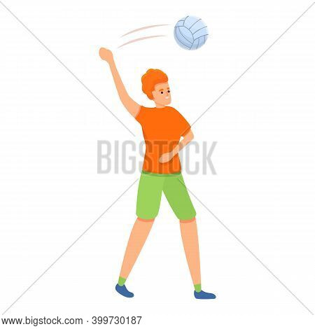 Flying Volleyball Icon. Cartoon Of Flying Volleyball Vector Icon For Web Design Isolated On White Ba