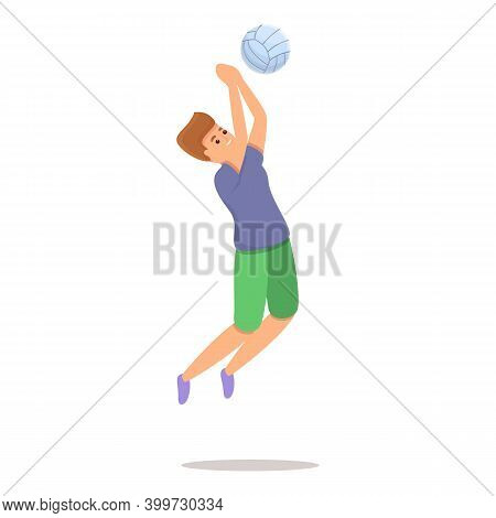 Powerful Volleyball Kick Icon. Cartoon Of Powerful Volleyball Kick Vector Icon For Web Design Isolat
