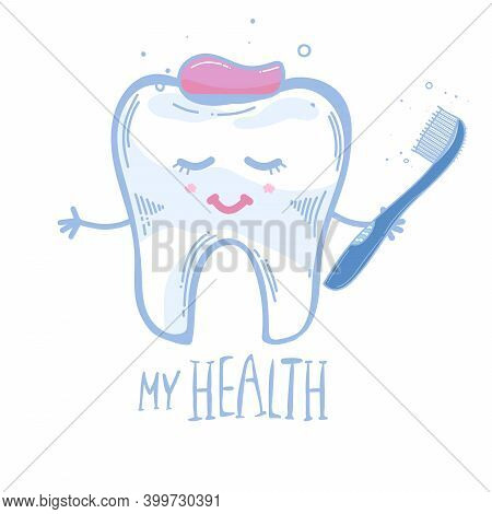 Tooth With A Toothbrush Toothpaste. Squeezed Out Toothpaste. Isolated On White With Flowers. Cute Ch